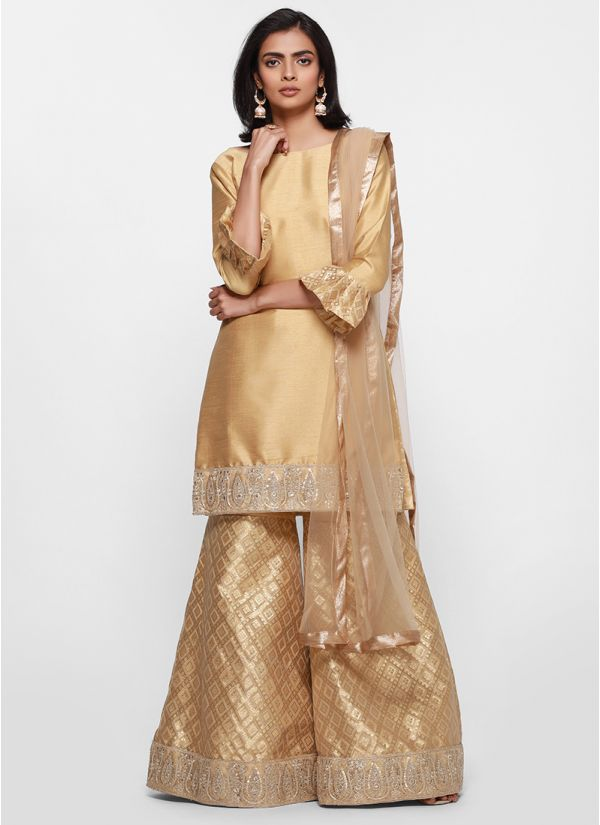 3f28c3e173f Metallic Jacquard Embroidered Gharara Suit Metallic Jacquard Embroidered  Gharara Suit