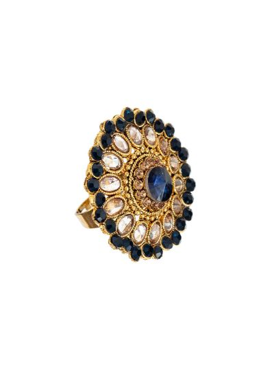 Navy Blue Stonework Ring