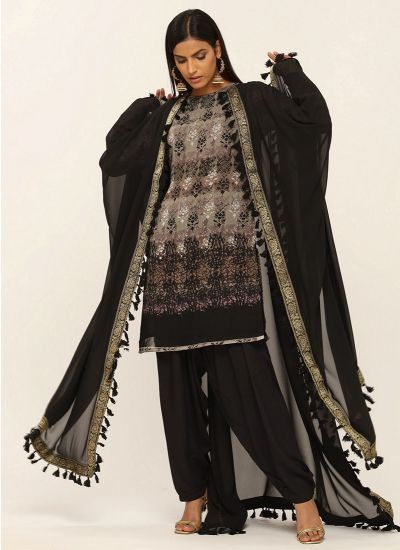 Black Fringe Border Flow Shawl