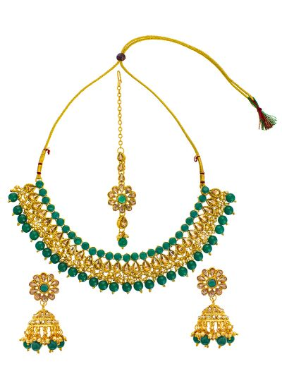 Emerald And Gold Necklace Set