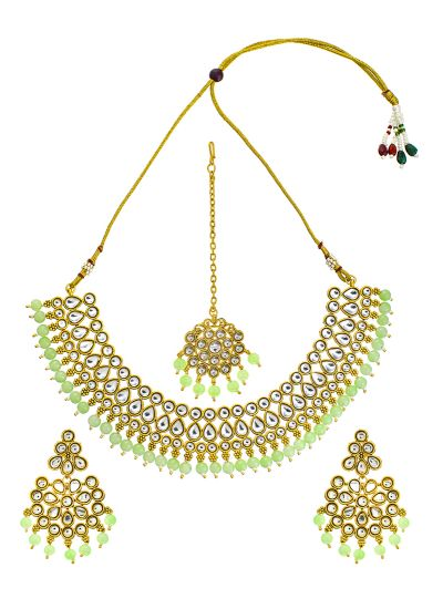 Mint Pearl Kundan Necklace Set