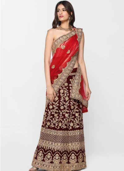 Velvet Zari Skirt Set