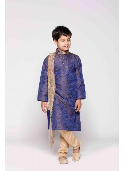 Blue Jacquard Kurta Pyjama Set