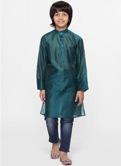 Solid Rama Green Kurta