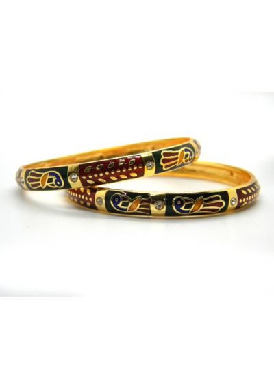 Egyptian Peacock Meenakari Brass Bangle Set