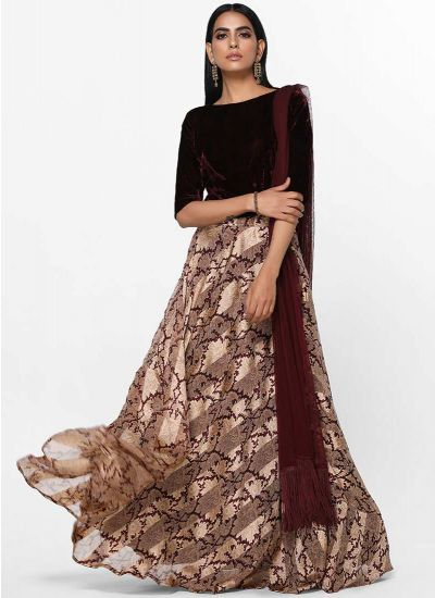 Velvet Damask Skirt Set