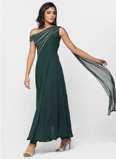Off Shoulder Emerald Dress