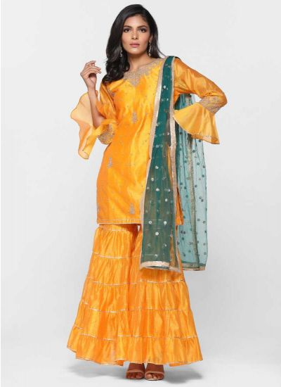 Tiered Yellow Gharara Dress Set