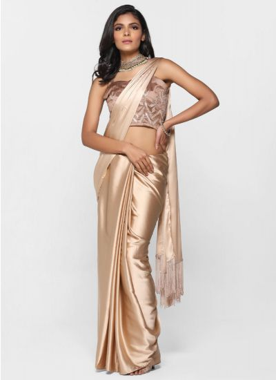 Rose Gold Gota Saree