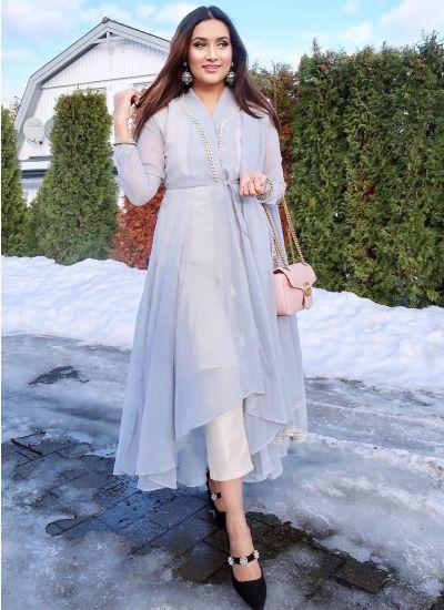 Slate Pearl Asymmetric Dress
