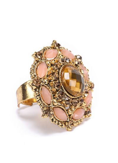 Gold And Peach Finger Ring