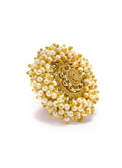 Gold Pearl Finger Ring