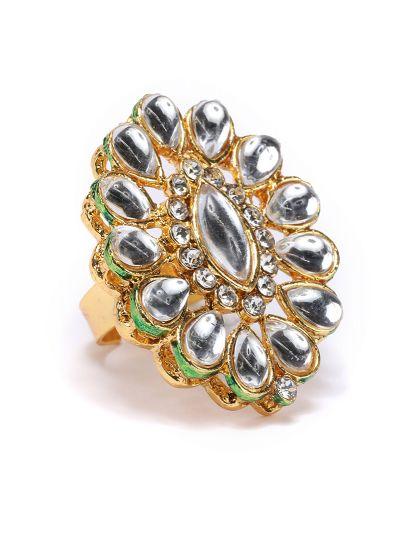 Gold Kundan Finger Ring