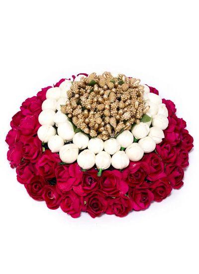 Maroon Floral Faux Bun