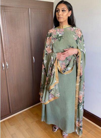Green Floral Printed Flow Dress
