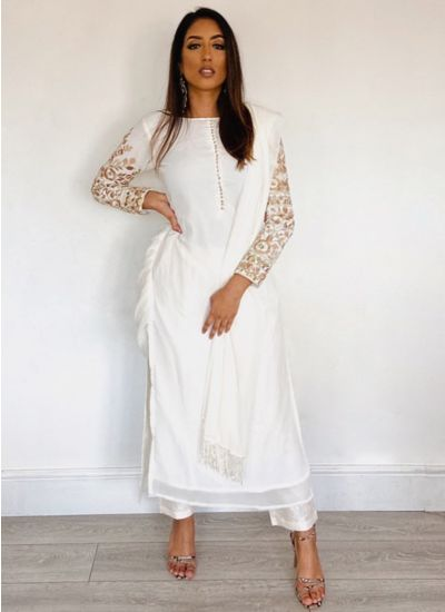 Cream Georgette Embroidered Suit Set
