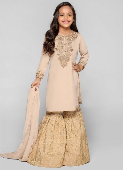 Gold Jacquard Gharara Dress