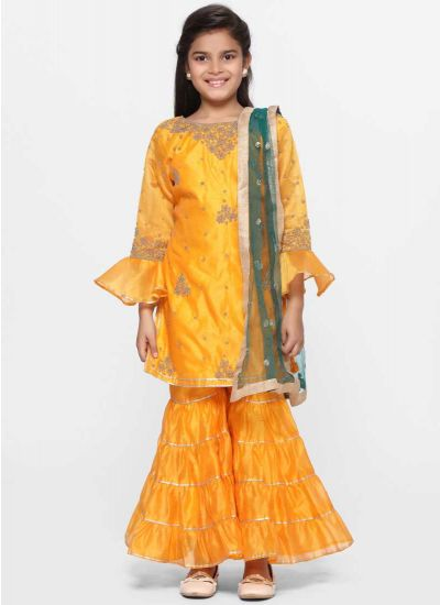Vibrant Yellow Gharara Dress Set