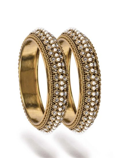Antique Gold Triple Layered Bangles with Pearl Detailing
