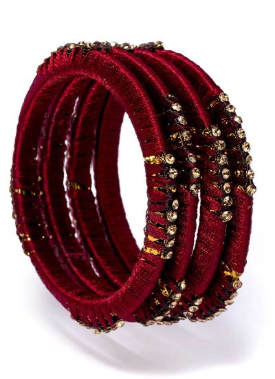 Maroon Threaded Bangles