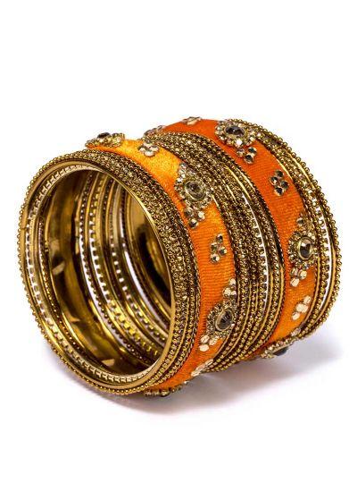 Orange Velvet Bangle Set