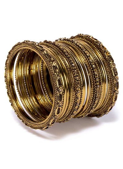 Gold Antique Bangle Set