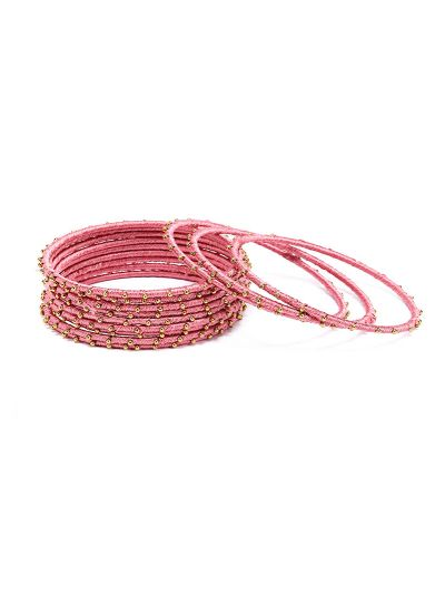 Beaded Pink Bangles