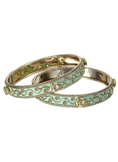 Mint Meenakari Bangle Set