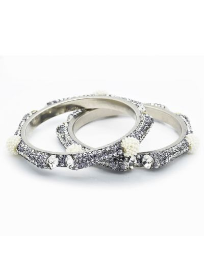 Ornate Pearl Diamonte Bangle Set