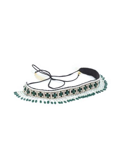 Emerald Pearl Tassel Belt