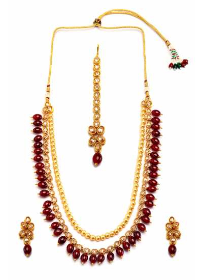 Beaded Pearl Necklace Set