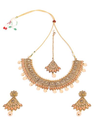 Peach Matt Necklace Set
