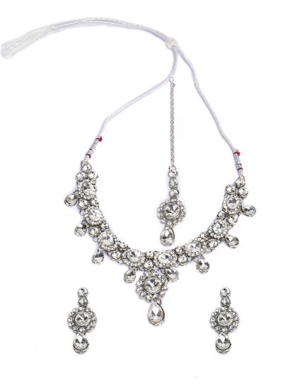 Silver Pear Necklace Set