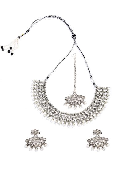 Silver And Ivory Necklace Set