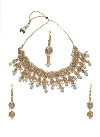 Turquoise Pearl Choker Set
