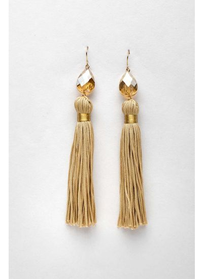 Beige Stud Drop Earrings