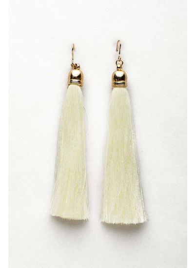 Ivory White Fringe Earrings