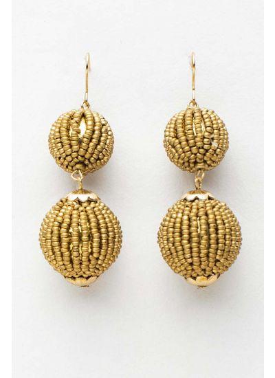 Gold Beaded Drop Earrings