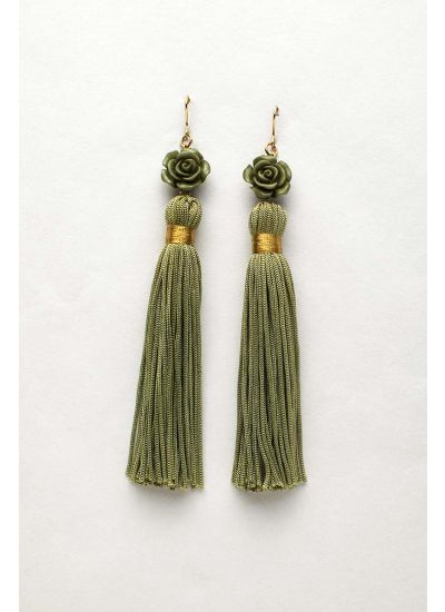 Olive Flower Tassel Earrings