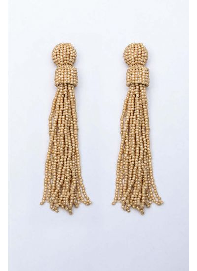 Beige Beaded Tassel Earrings