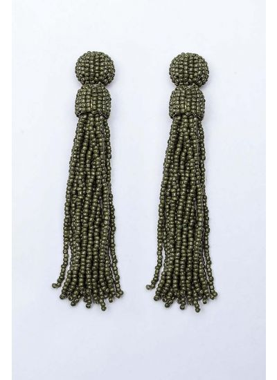 Olive Beaded Tassel Earrings
