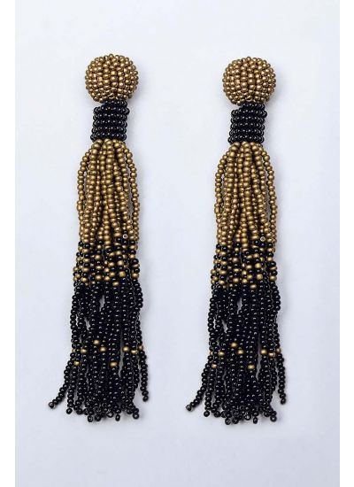 Black & Gold Ombre Chandelier Earrings