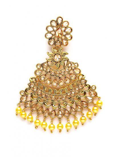 Gold Pearl Floral Fan Earrings
