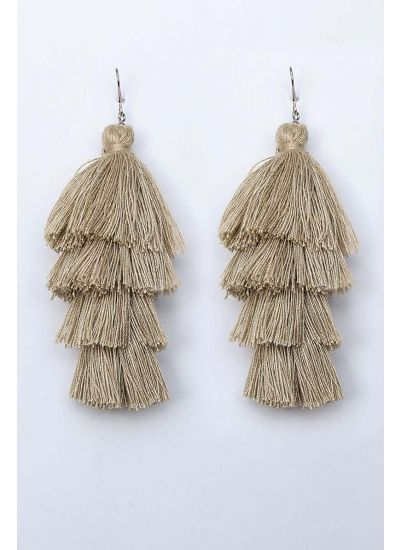 Beige Tassel Cascade Earrings