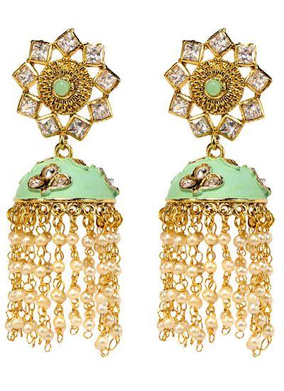 Mint Meenakari Pearl Earrings