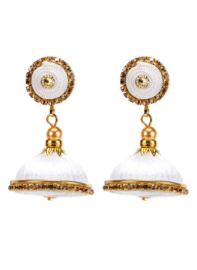 White Resham Thread Jhumkis