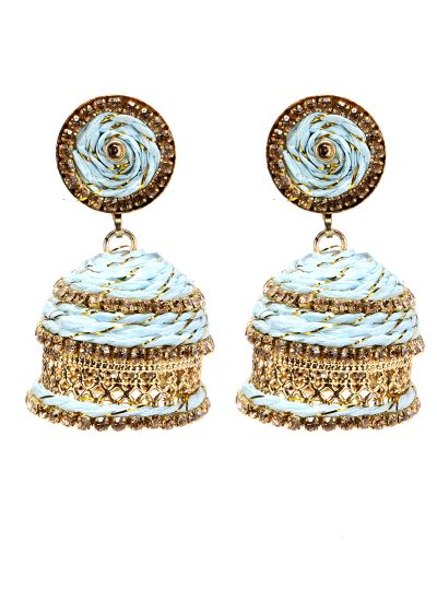 Blue And Gold Resham Threaded Jhumkis