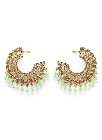 Green Half Moon Earrings