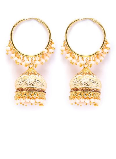 Gold Meenakari And Pearl Earrings