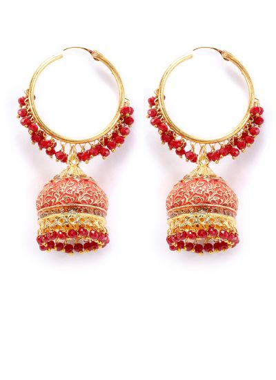 Maroon Meenakari And Pearl Earrings